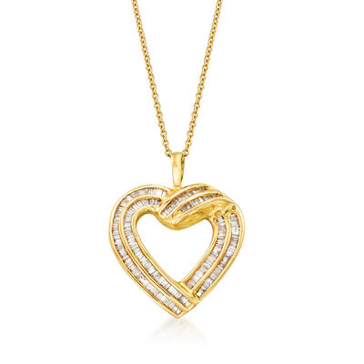 C. 1980 Vintage 1.00 ct. t.w. Diamond Heart Pendant Necklace in 14kt White Gold