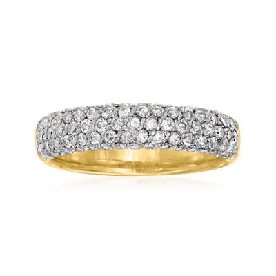 C. 1980 Vintage 1.10 ct. t.w. Diamond Multi-Row Ring in 18kt Yellow Gold