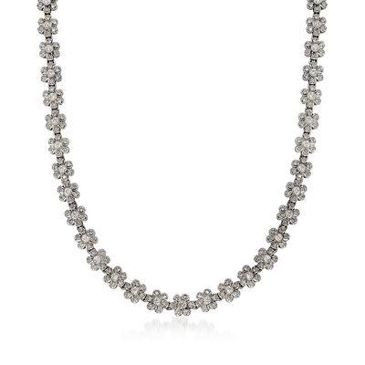 C. 1990 Vintage 5.65 ct. t.w. Diamond Floral Necklace in 14kt White Gold