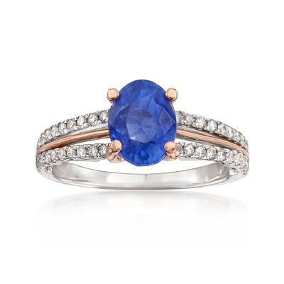 C. 2000 Vintage 2.34 Carat Sapphire and .50 ct. t.w. Diamond Ring in 18kt Two-Tone Gold, , default