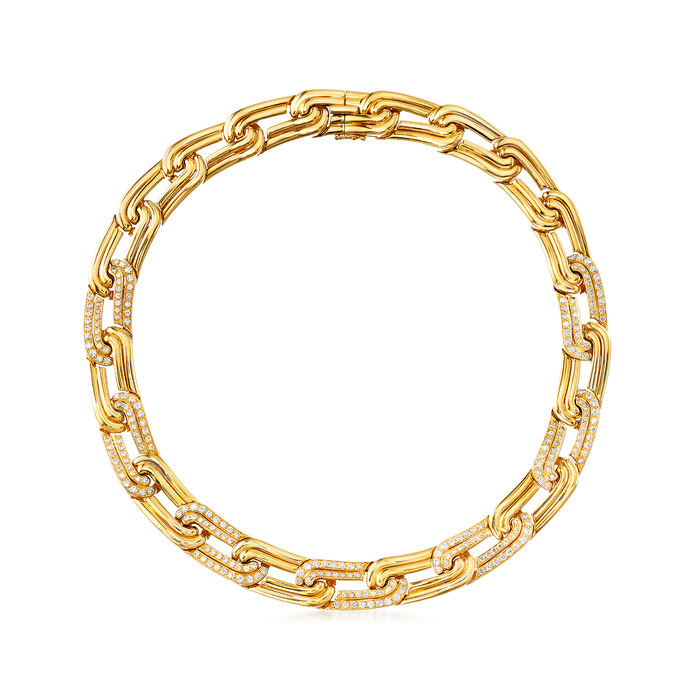 C. 1980 Vintage 5.14 ct. t.w. Diamond Link Necklace in 18kt Yellow Gold