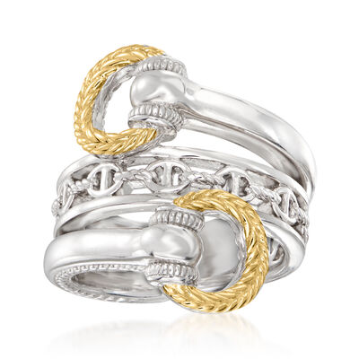 """Judith Ripka """"Vienna"""" Sterling Silver and 18kt Yellow Gold Bypass Ring"""