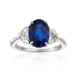 C. 1990 Vintage 4.26 Carat Sapphire and .90 ct. t.w. Diamond Ring in Platinum , , default