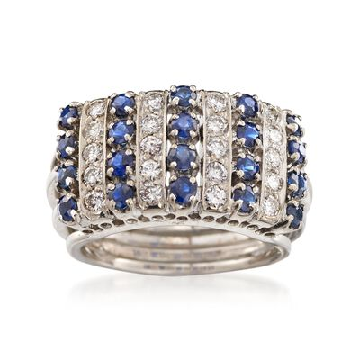 C. 1970 Vintage 1.00 ct. t.w. Sapphire and .60 ct. t.w. Diamond Ring in 18kt White Gold, , default