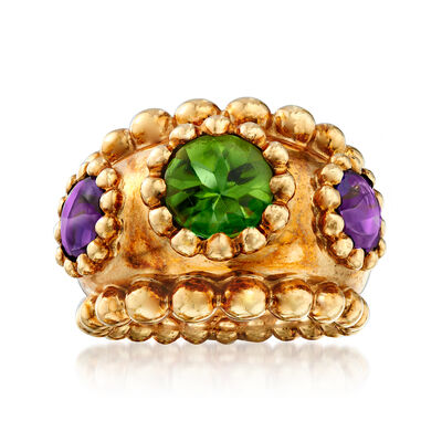 C. 1990 Vintage Chanel 2.00 Carat Peridot and 1.80 ct. t.w. Amethyst Ring in 18kt Yellow Gold, , default