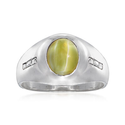 C. 1970 Vintage Cat's Eye Chrysoberyl Ring with .20 ct. t.w. Diamonds in 14kt White Gold