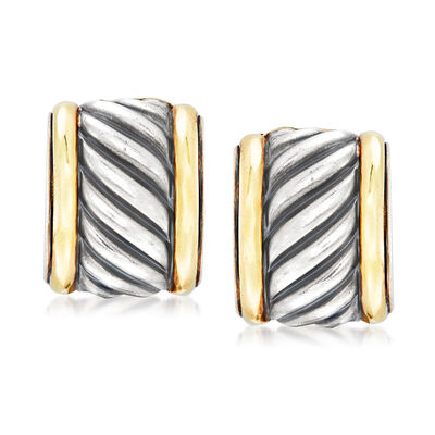 C. 1990 Vintage David Yurman Fluted Earrings in Sterling Silver and 14kt Yellow Gold, , default