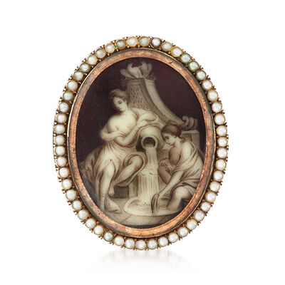 C. 1920 Vintage 10kt Rose Gold Painted Women with Vase Portrait Pin in 10kt Rose Gold with Seed Pearls