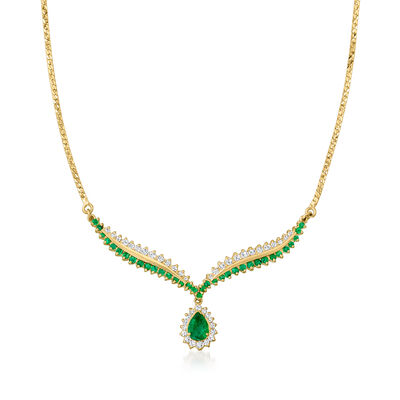 C. 1980 Vintage 2.05 ct. t.w. Emerald and .90 ct. t.w. Diamond Necklace in 14kt Yellow Gold