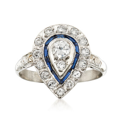 C. 1970 Vintage .70 ct. t.w. Diamond and .12 ct. t.w. Simulated Sapphire Cocktail Ring in 18kt White Gold, , default