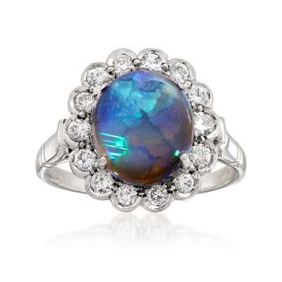 C. 1980 Vintage Black Opal and Diamond Ring in 18kt White Gold, , default