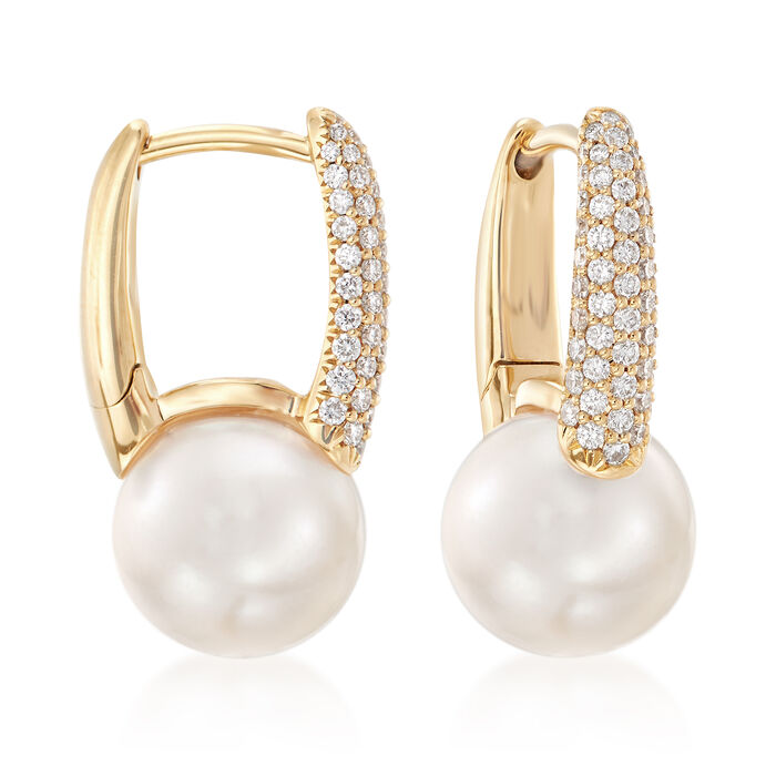 """Mikimoto's """"Classic"""" 8mm Akoya Pearl and .26 ct. t.w. Diamond Hoop Earrings in 18kt Gold"""