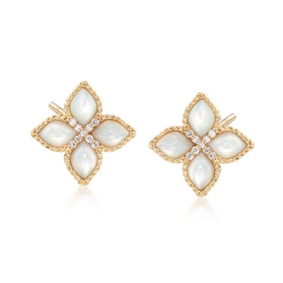 "Roberto Coin ""Venetian Princess"" Mother-Of-Pearl Earrings with Diamond Accents in 18kt Gold"