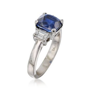 C. 1990 Vintage 3.44 Carat Sapphire and .50 ct. t.w. Diamond Ring in Platinum. Size 5.75