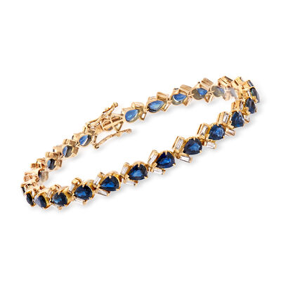 C. 1985 Vintage 7.50 ct. t.w. Sapphire and 1.00 ct. t.w. Diamond Bracelet in 18kt Yellow Gold, , default