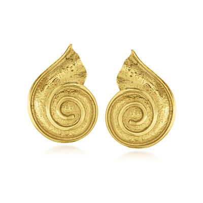 C. 1980 Vintage 18kt Yellow Gold Swirl Shell Earrings