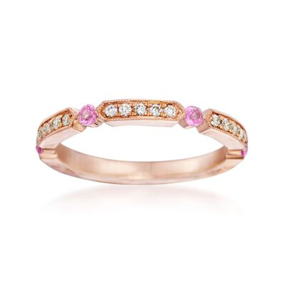 Henri Daussi .21 ct. t.w. Pink Sapphire and Diamond Wedding Ring in 14kt Rose Gold, , default