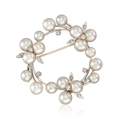 C. 1970 Vintage 5x6mm Cultured Pearl and .30 ct. t.w. Diamond Circle Pin in 14kt White Gold, , default