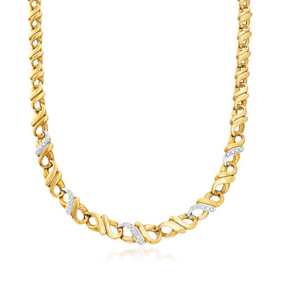 C. 1980 Vintage .60 ct. t.w. Diamond Infinity-Link Necklace in 18kt Two-Tone Gold