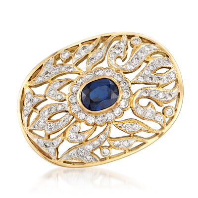 C. 1980 Vintage 1.40 Carat Sapphire and 1.05 ct. t.w. Diamond Pin Pendant in 18kt Yellow Gold, , default