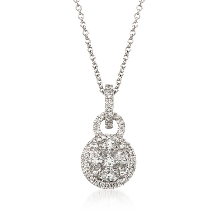 "Simon G .54 Carat Total Weight Diamond and 18-Karat White Gold Necklace. 18"", , default"