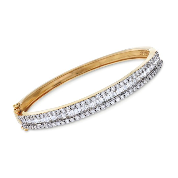 C. 1990 Vintage 3.70 ct. t.w. Baguette and Round Diamond Bangle Bracelet in 14kt Yellow Gold