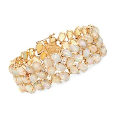 C. 1970 Vintage Opal and .25 ct. t.w. Diamond Bracelet in 18kt Yellow Gold, , default