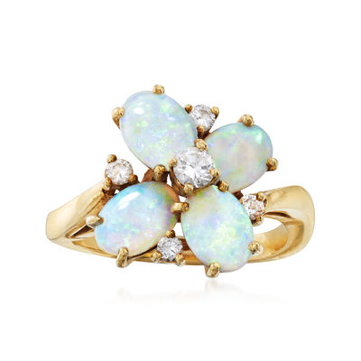 C. 1980 Vintage 1.20 ct. t.w. Opal and .25 ct. t.w. Diamond Flower Ring in 18kt Yellow Gold, , default