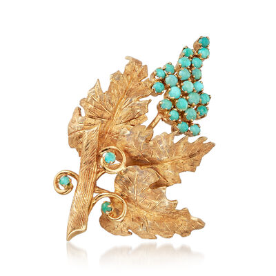 C. 1960 Vintage 2.4mm Turquoise Grapevine Pin in 18kt Yellow Gold, , default