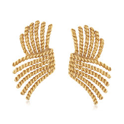C. 1980 Vintage Tiffany Jewelry 18kt Yellow Gold Rope Wing Clip-On Earrings , , default