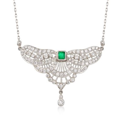 C. 1980 Vintage 2.75 ct. t.w. Diamond and .35 Carat Emerald Petite Bib Necklace in Platinum, , default