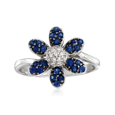C. 1990 Vintage .50 ct. t.w. Sapphire and .15 ct. t.w. Diamond Flower Ring in 14kt White Gold