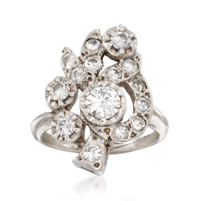 C. 1970 Vintage 1.40 ct. t.w. Diamond Floral Ring in 14kt White, , default