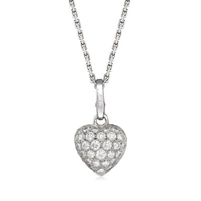C. 1980 Vintage Cartier .90 ct. t.w. Diamond Heart Pendant Necklace in 18kt White Gold