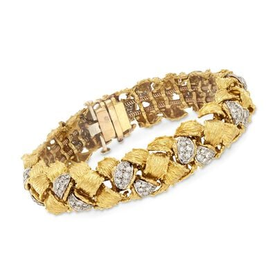 C. 1970 Vintage 4.00 ct. t.w. Diamond Basketweave Bracelet in 14kt Two-Tone Gold