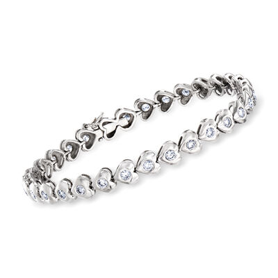 C. 1980 Vintage 1.75 ct. t.w. Diamond Heart Bracelet in 18kt White Gold, , default