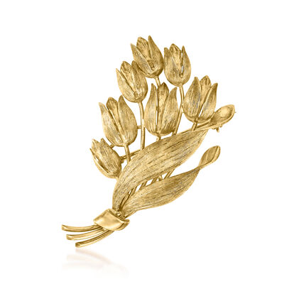 C. 1970 Vintage Tiffany Jewelry 18kt Yellow Gold Flower Bouquet Pin