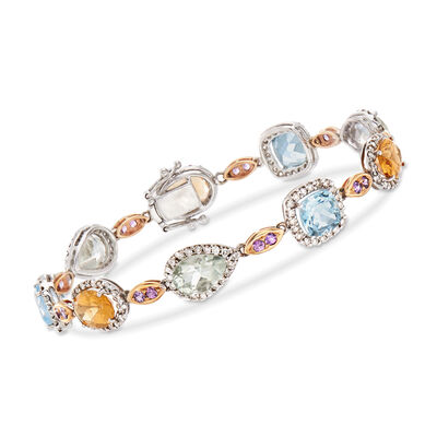 C. 1990 Vintage 17.20 ct. t.w. Multi-Stone and 1.69 ct. t.w. Diamond Bracelet in 18kt White Gold, , default