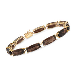 C. 1980 Vintage 27.50 ct. t.w. Smoky Quartz Bracelet in 14kt Yellow Gold , , default