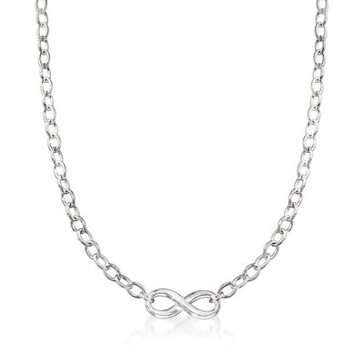 C. 1990 Vintage Tiffany Jewelry Infinity Necklace in Sterling Silver, , default