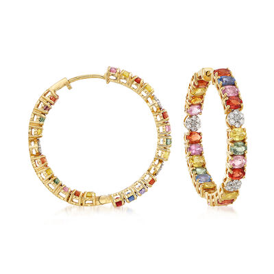 11.00 ct. t.w. Multicolored Sapphire and .44 ct. t.w. Diamond Inside-Outside Hoop Earrings in 18kt Yellow Gold, , default