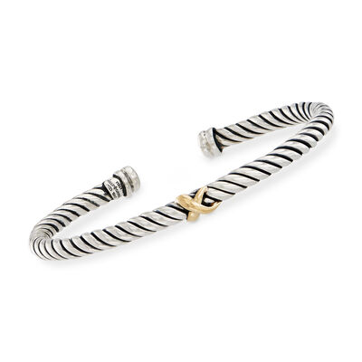 "Phillip Gavriel ""Italian Cable"" Sterling Silver Cuff Bracelet with 18kt Gold, , default"