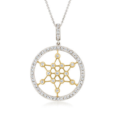 C. 1980 Vintage 1.05 ct. t.w. Diamond Star of David Necklace in 18kt Two-Tone Gold