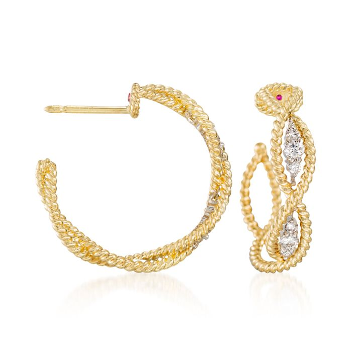 Roberto Coin Barocco .30 Carat Total Weight Diamond Braid Hoops in 18-Karat Yellow Gold, , default