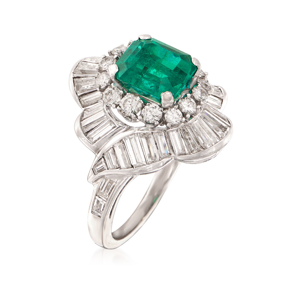 79e25fa44fa66 Circa 1990 Vintage 2.20 Carat Emerald and 2.50 Carat Total Weight Diamond  Ballerina Ring. Size 4.75