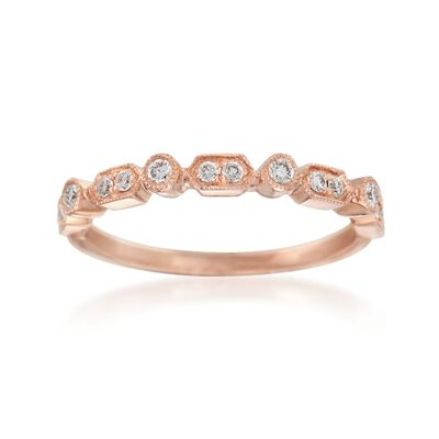 Henri Daussi .16 ct. t.w. Diamond Wedding Ring in 14kt Rose Gold, , default