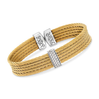 "ALOR ""Classique"" Yellow Stainless Steel Cable Cuff Bracelet with .19 ct. t.w. Diamonds and 18kt White Gold, , default"