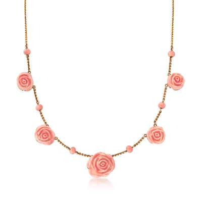 C. 1940 Vintage Red Coral Flower Station Necklace in 14kt Yellow Gold