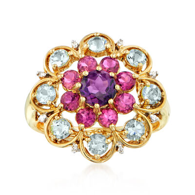 C. 1990 Vintage 2.15 ct. t.w. Multi-Gemstone Flower Ring in 14kt Yellow Gold