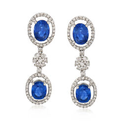 3.40 ct. t.w. Sapphire and .55 ct. t.w. Diamond Drop Earrings in 18kt White Gold, , default